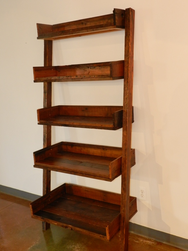 """Constructed with Reclaimed 2x4 shelves and Clapboard sides. Designed to lean against wall or corner. Stands at 6' 4"""" tall. $300"""